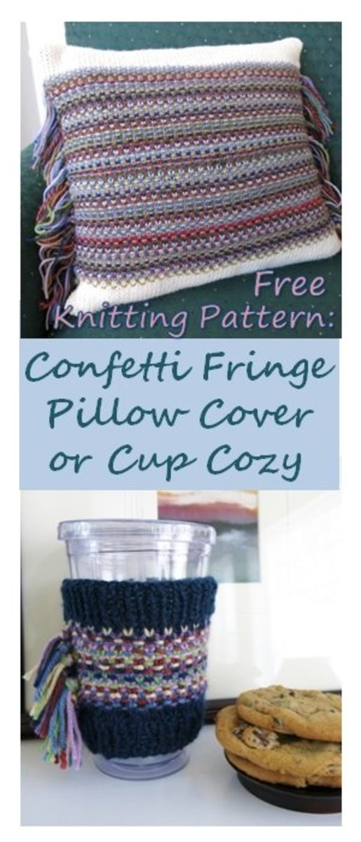 Confetti Fringe Pillow or Cup Cozy Knitting Pattern