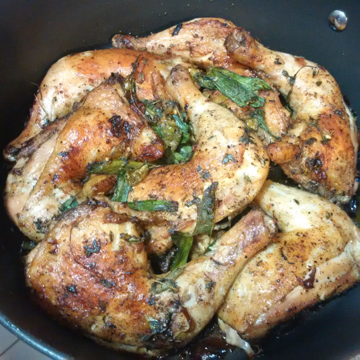 How to Make Oven Baked Chicken Thighs with Thyme and Green Onions