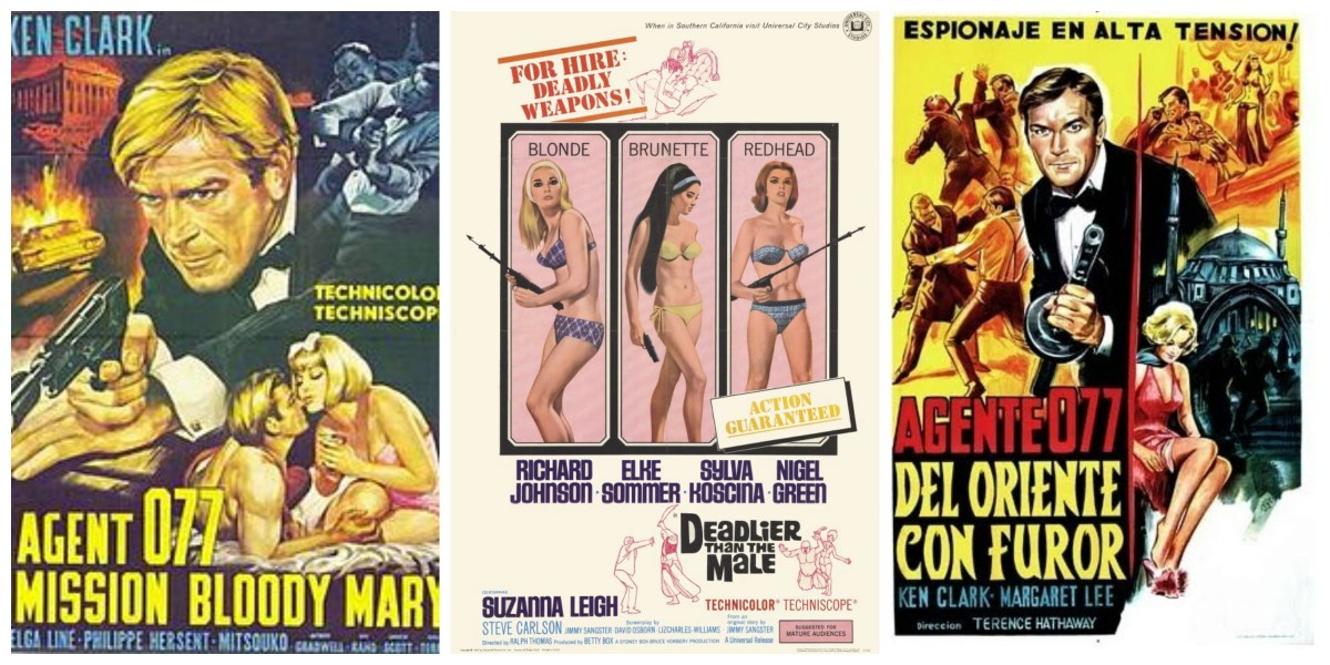 "Posters for ""Mission Bloody Mary"" (1965), ""Deadlier Than the Male"" (1967) and ""From the Orient With Fury"" (1966)"