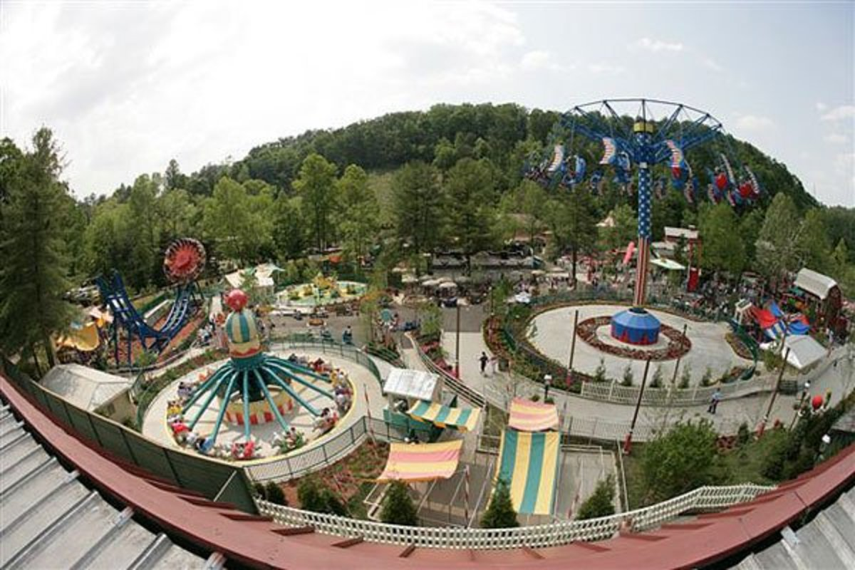 Aerial view of Dollywood theme park