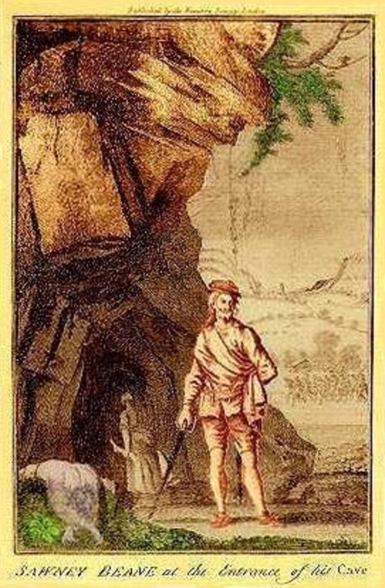 Allegedly a depiction of Sawney outside his cave with his lady carrying a leg inside for supper