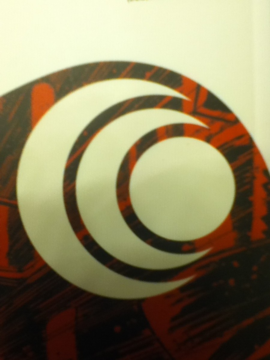 Close up of the symbol used by the dimensionauts in Black Science, found on the rear cover of vol. 3 (photo taken by Seth Tomko)