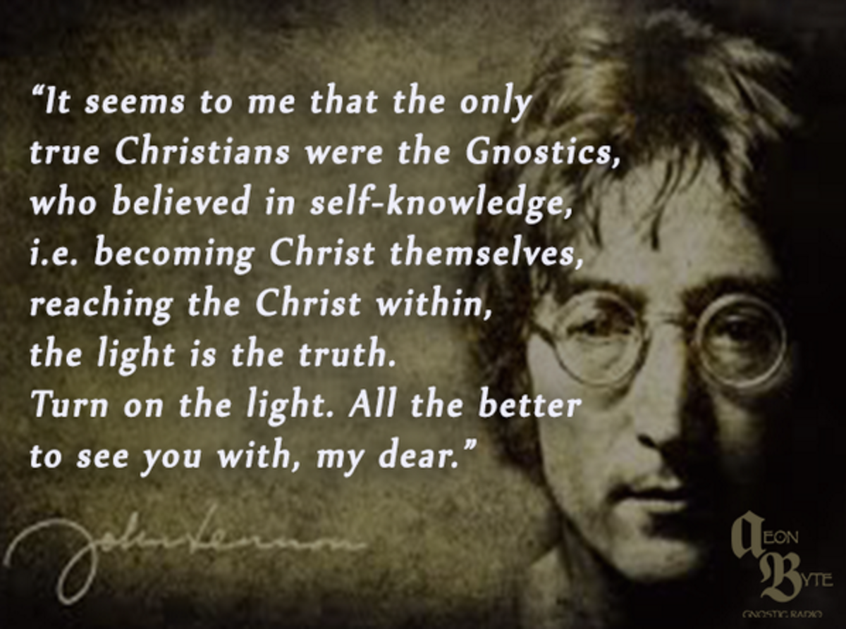 Poster of John Lennon commentary on gnosticism.