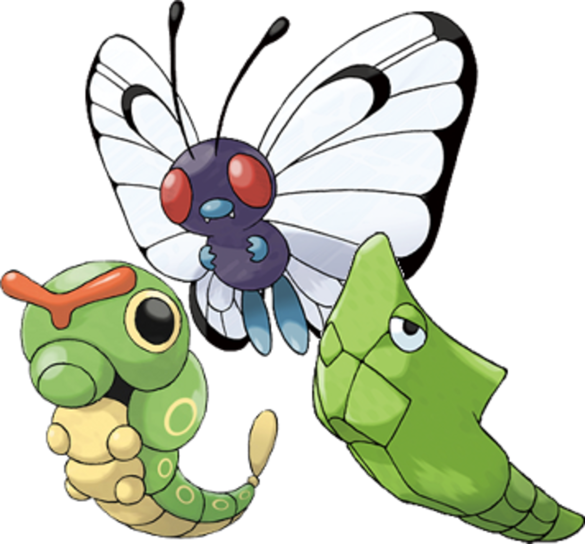 Caterpie, Metapod, and Butterfree
