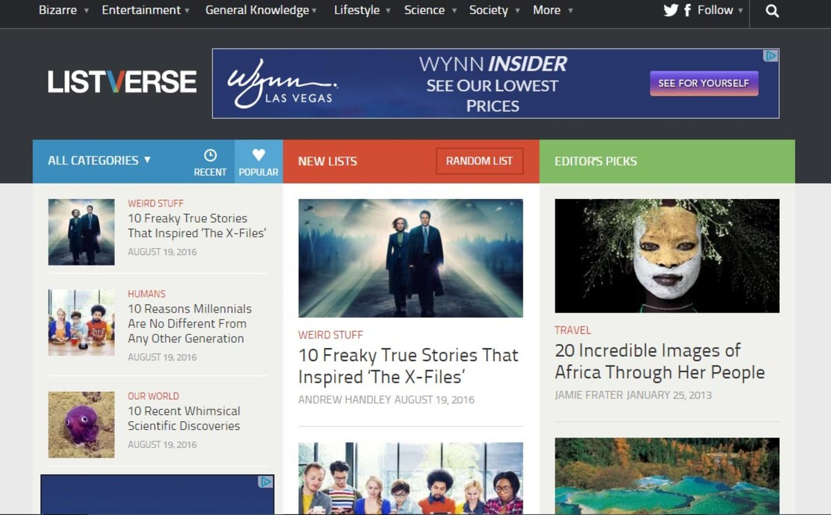 Listverse Home page