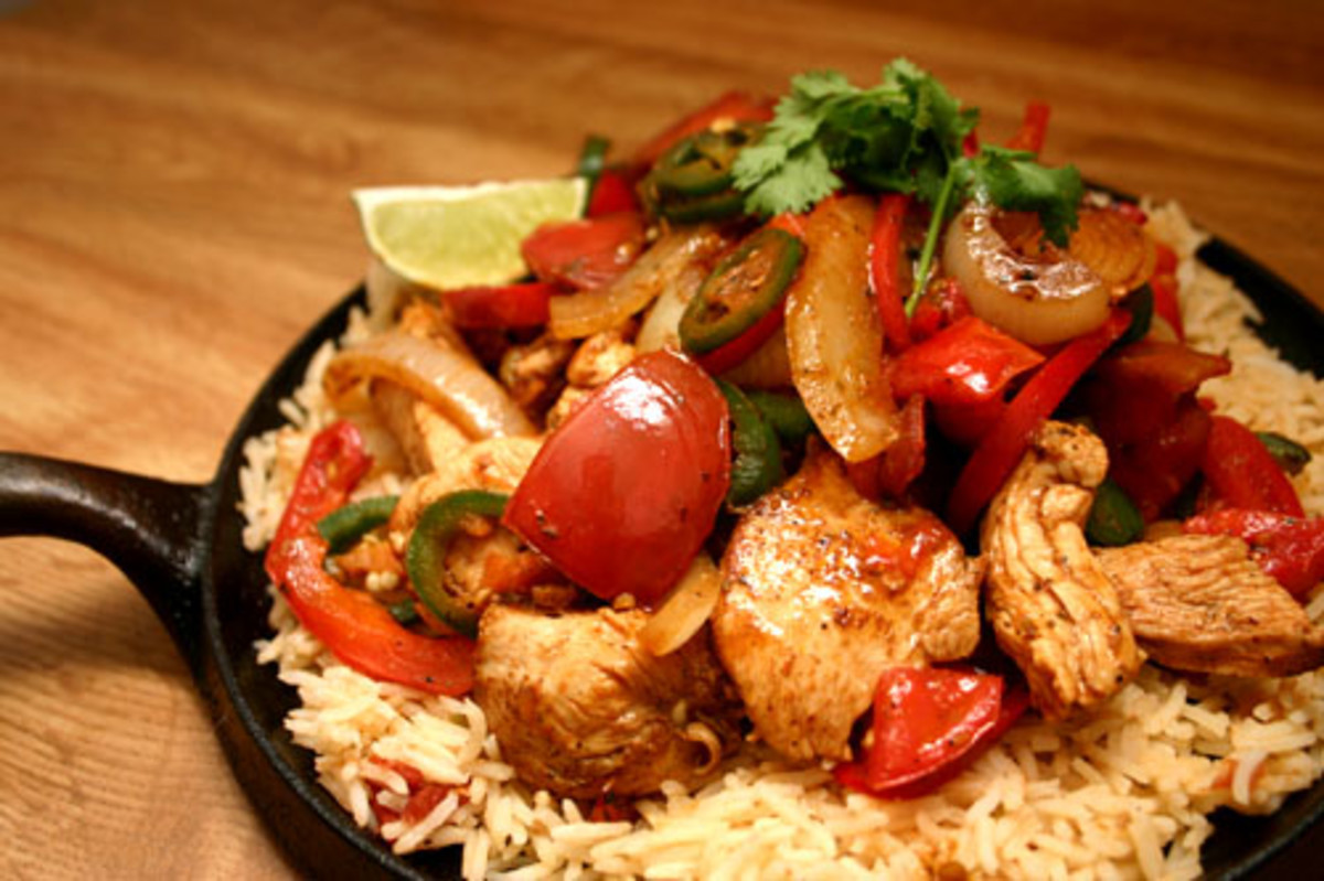 Chicken Fajita fixings, served on a cast iron skillet