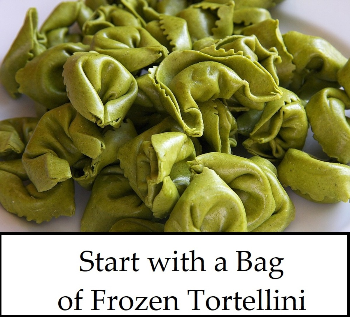 spinach tortellini waiting to become something wonderful