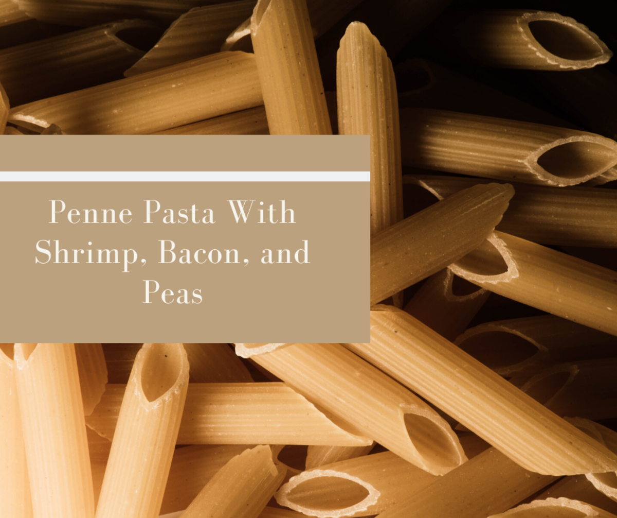 Penne Pasta With Shrimp, Bacon, and Peas