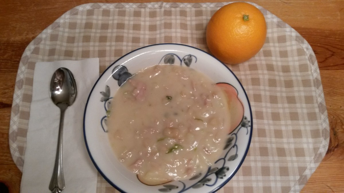 Clam Chowder is a filling meal when served with crackers and a piece of fruit.