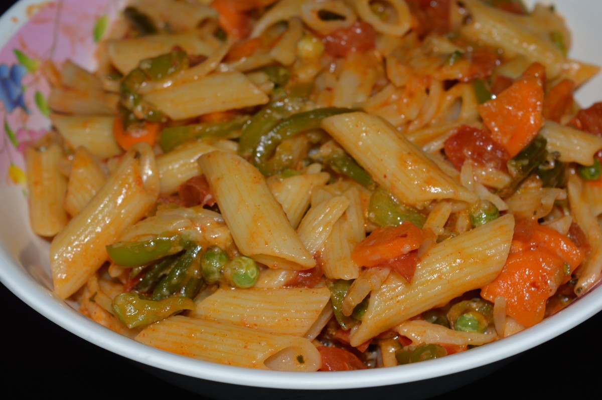 My Indian-style vegetable pasta