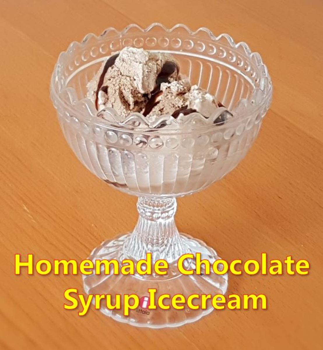 Ready to eat, homemade Hershey's chocolate syrup icecream.