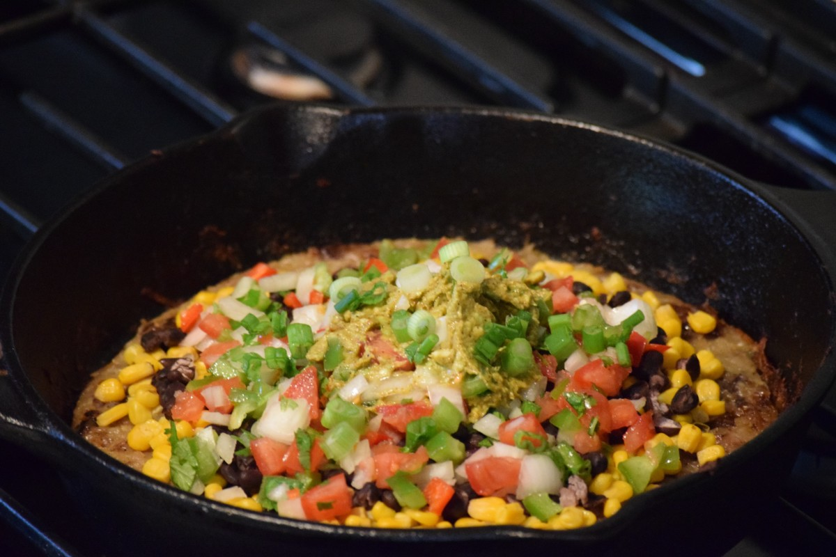 Fred and Melissa's Mexican skillet pizza.