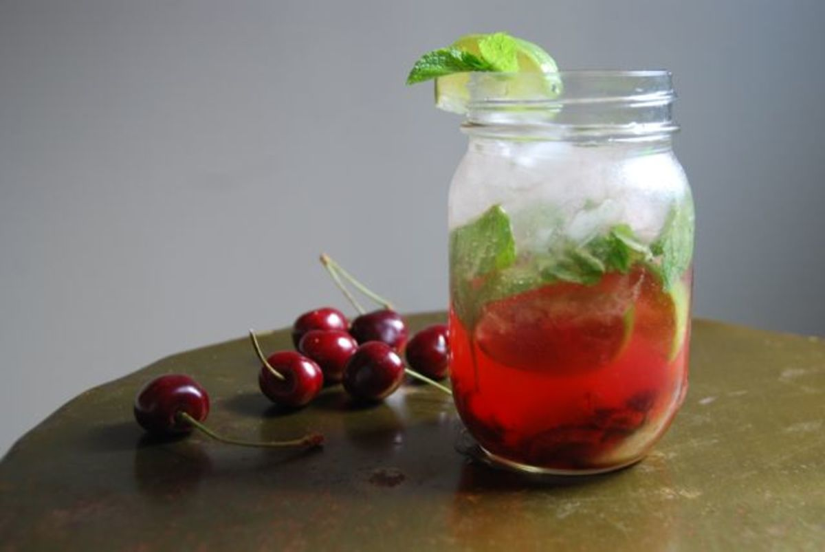Sweet Cherry-Lime Mojitos