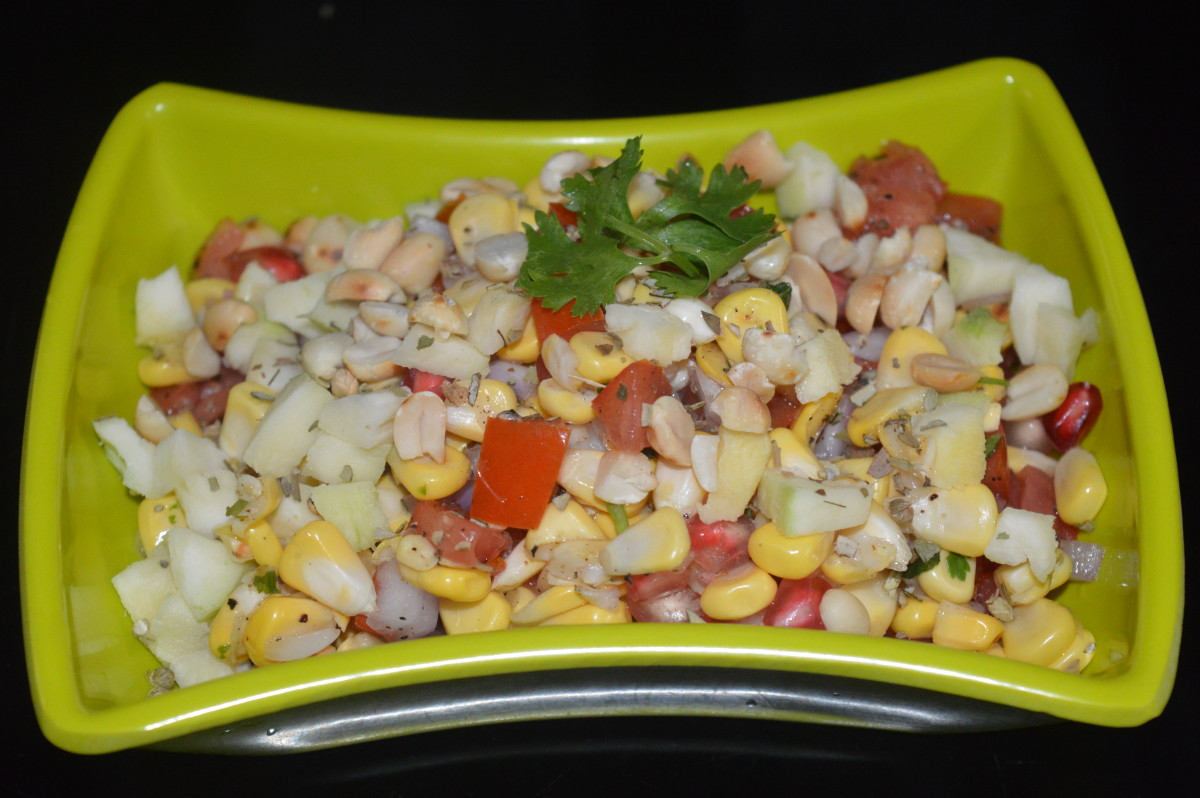 Corn raw mango salad with roasted peanuts