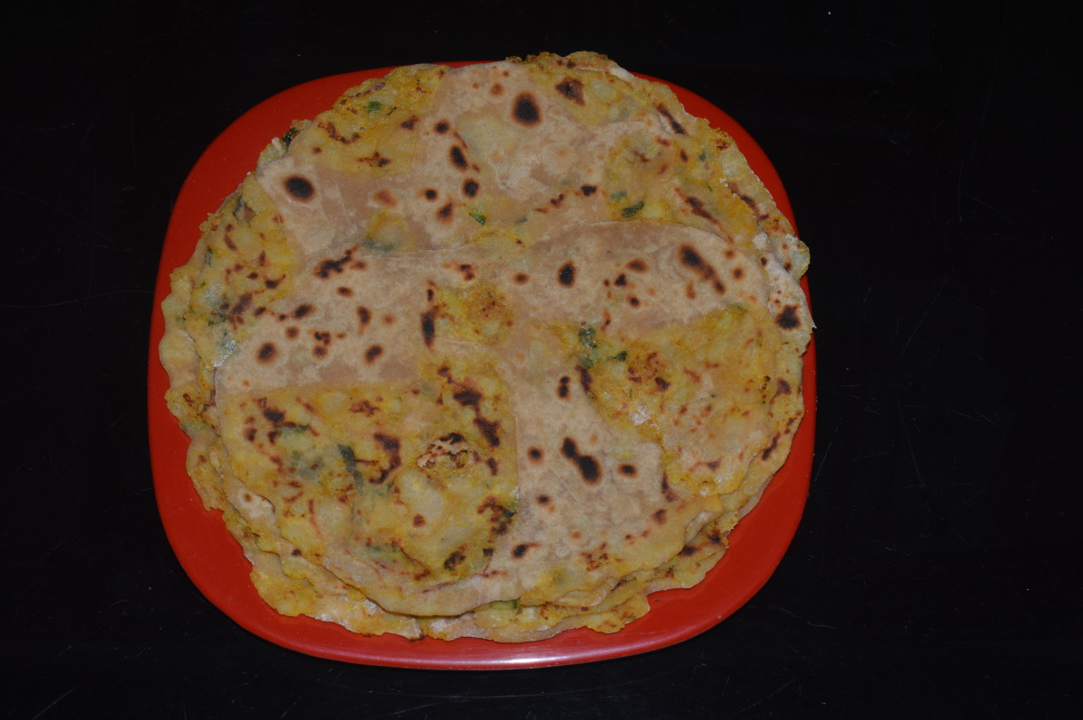 Spicy potato stuffed pancakes or Aloo paratha