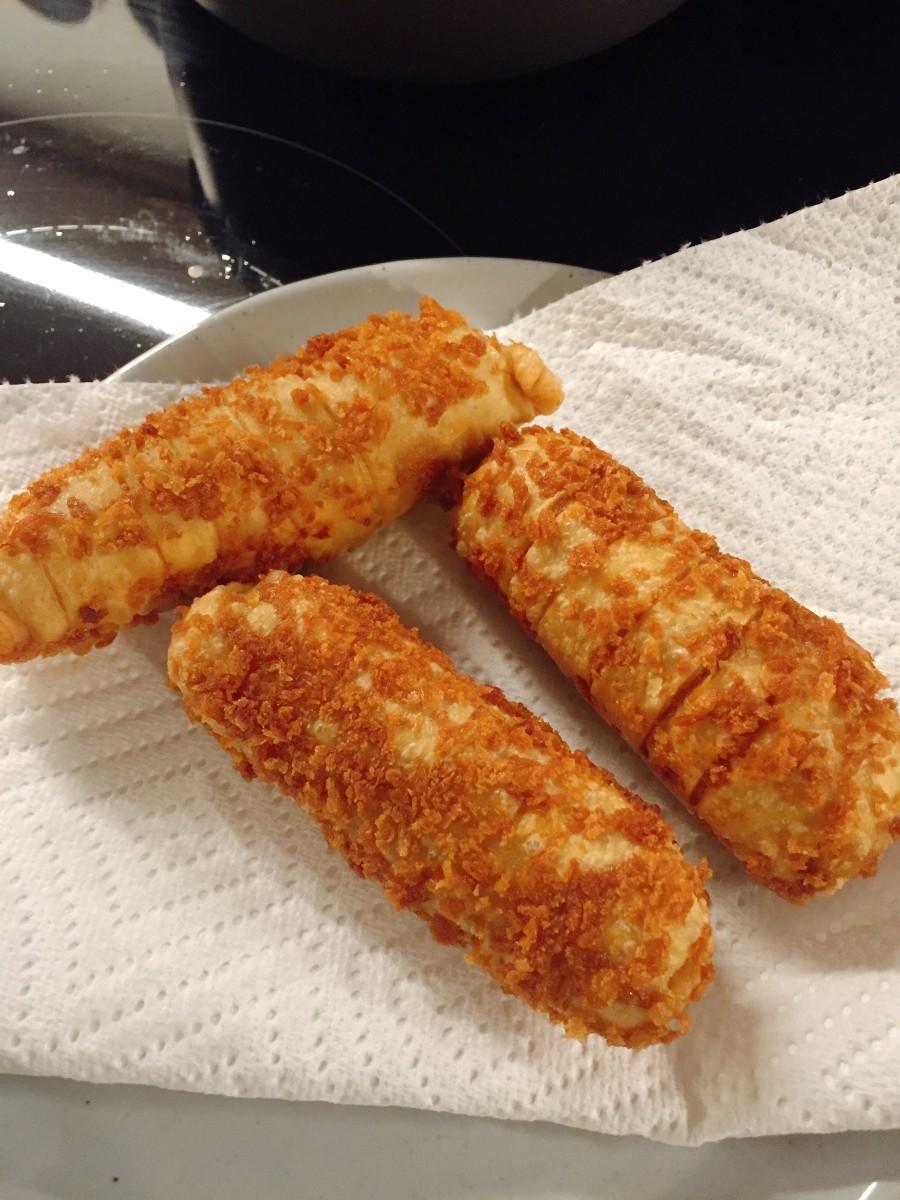 Crispy sardine rolls.