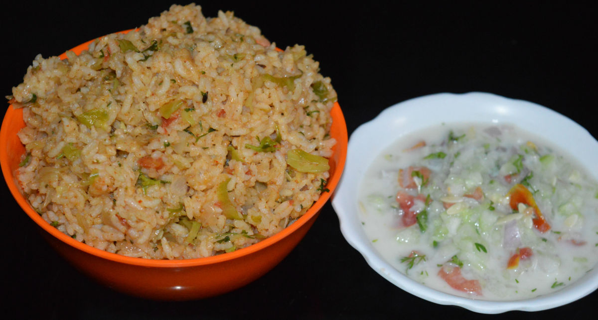 Spiced cabbage rice and cucumber-onion raita