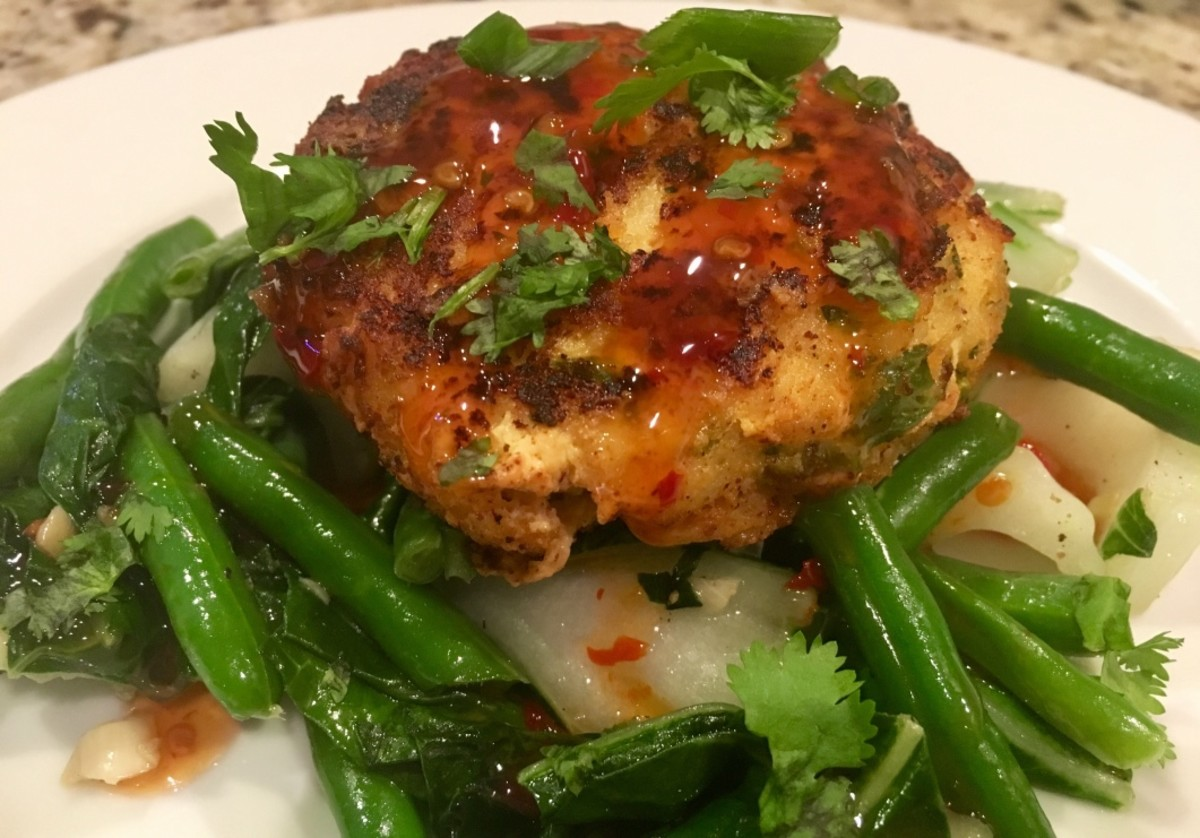 Fish Cakes with Bok Choy and Green Beans