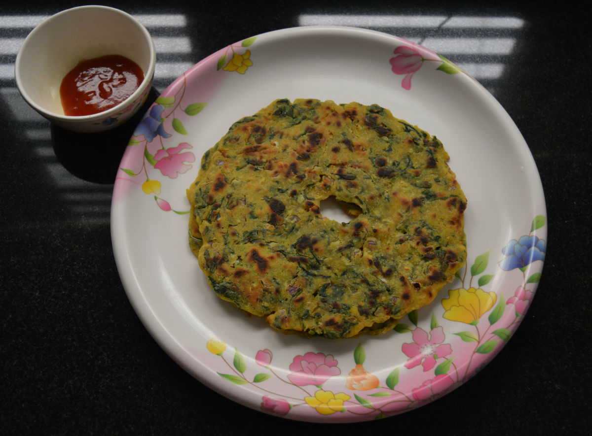 Palak Thalipeeth, or Spinach Pancakes