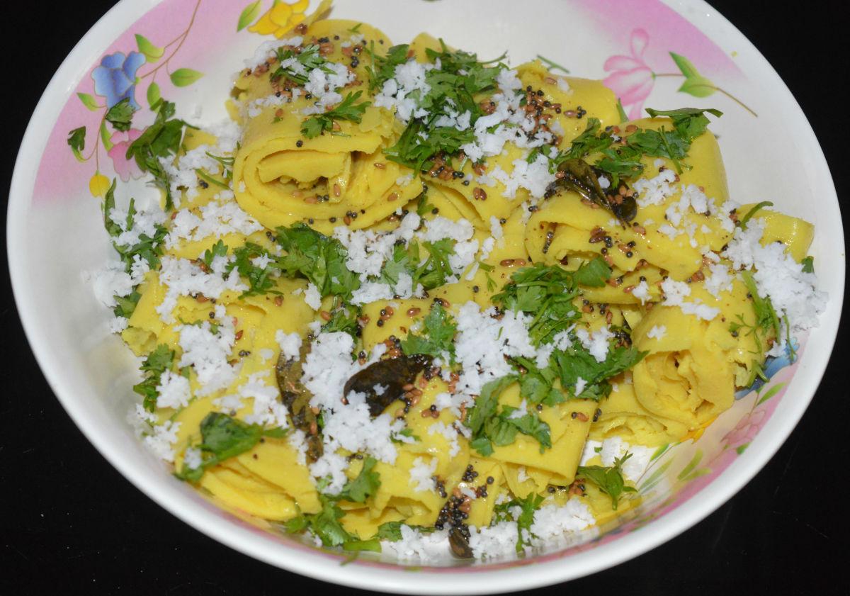 Gujarati khandvi (chickpea flour rolls)