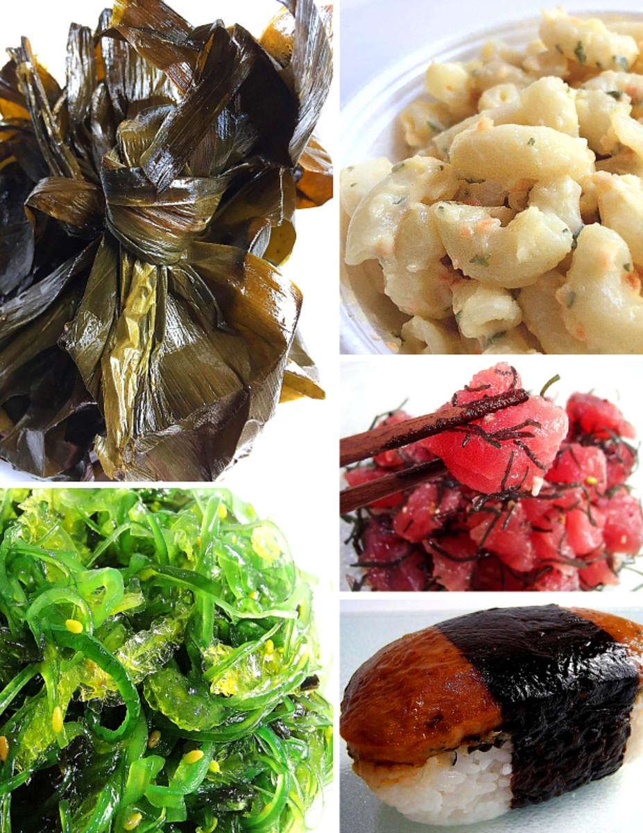 Clockwise from top left: Laulau, macaroni salad, poke, musubi, wakame seaweed salad.