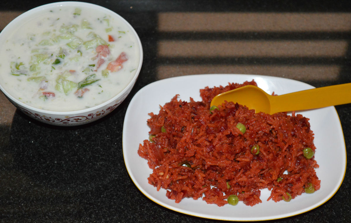 Beetroot pulao (rice).