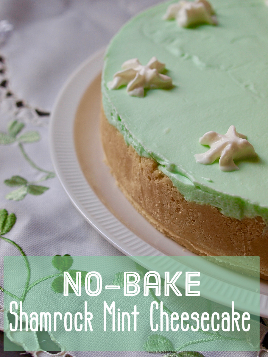 No-Bake Shamrock Mint Cheesecake