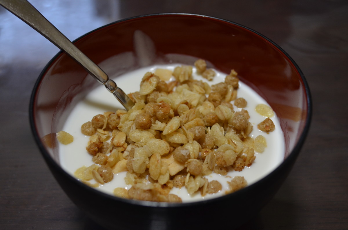Caspian Sea yogurt (matsoni) and granola in a Japanese soup bowl.