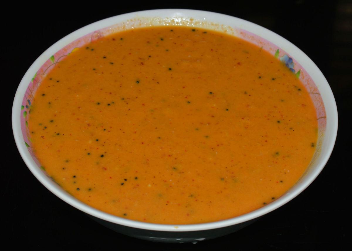 Mango raita is sweet and tangy.