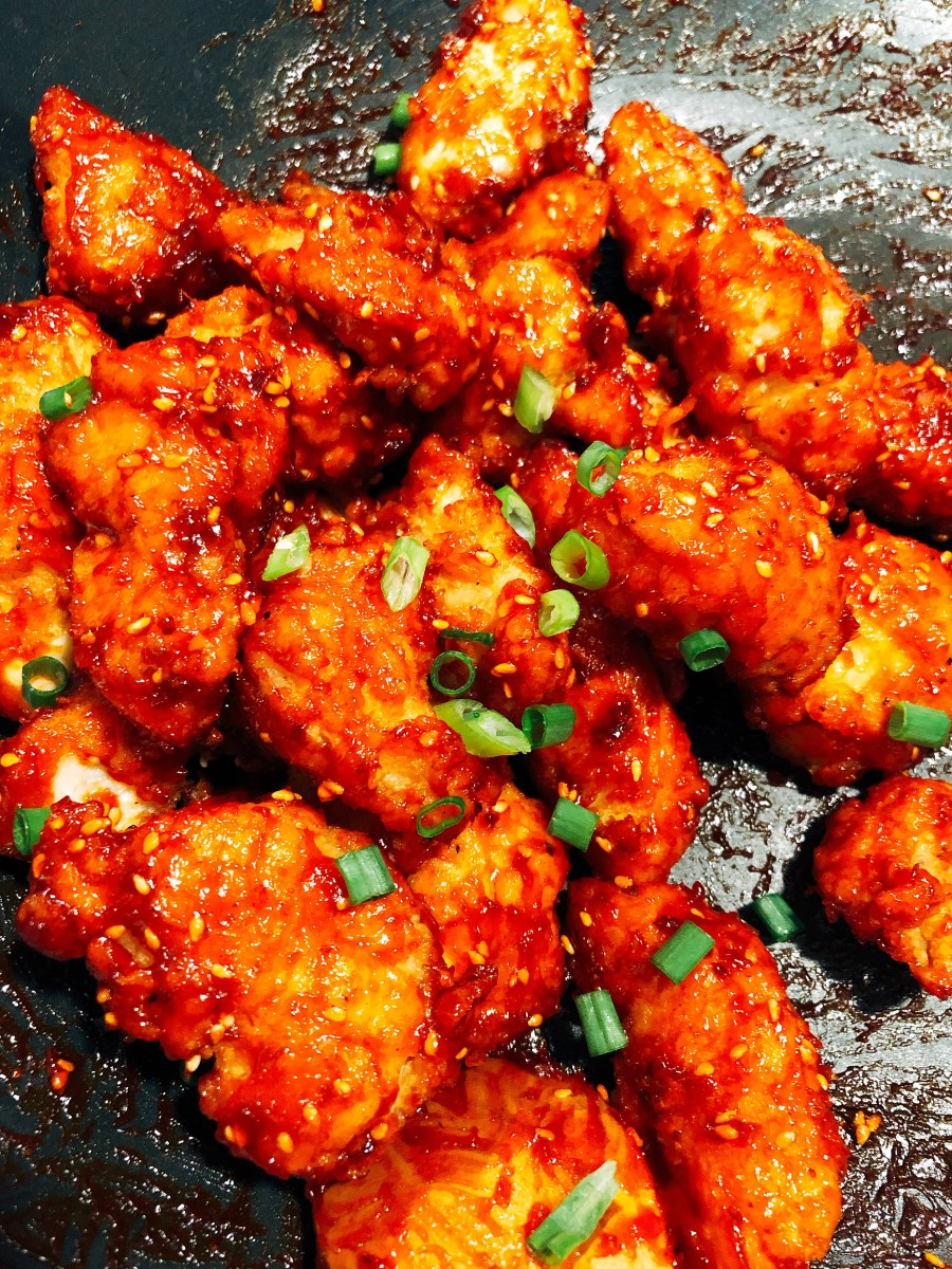 Yummy sweet and spicy Korean fried chicken.