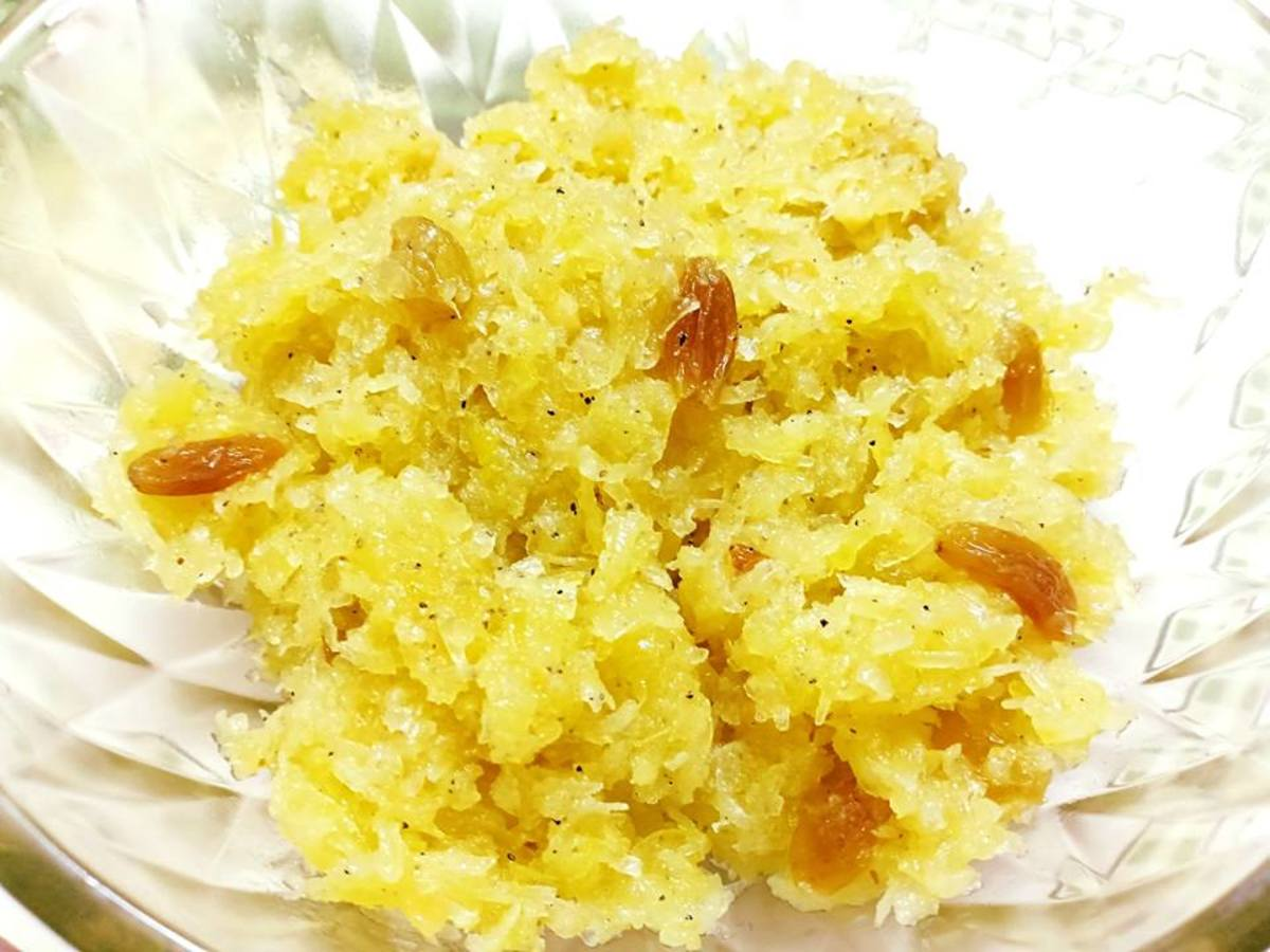Raw Papaya Halwa (Pudding) for the Navratri Festival