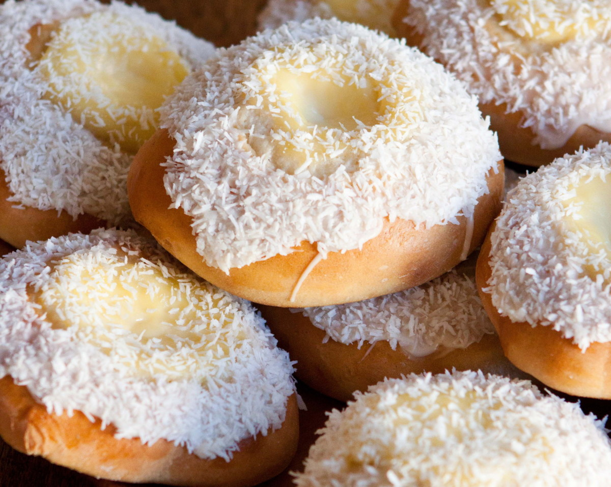 "Skolebrød, Norwegian custard buns, also called ""school bread"""