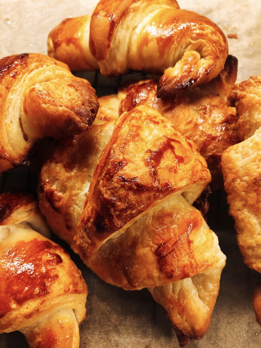 Freshly baked croissants just out of the oven are the best!