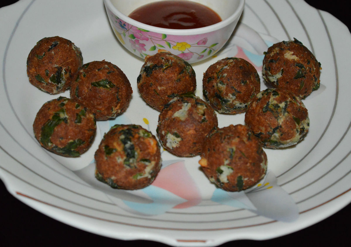 Spinach, paneer, and cheese balls