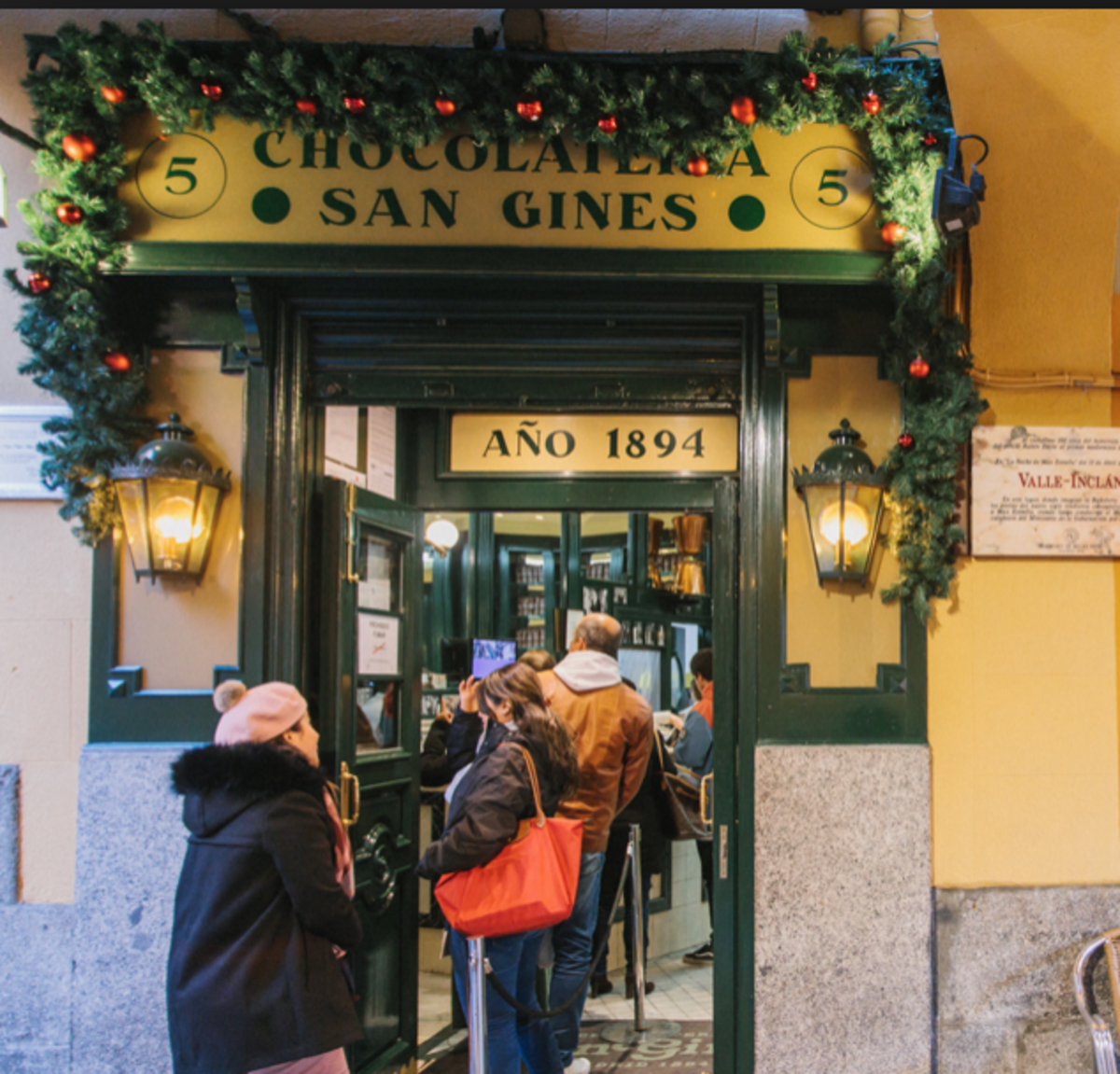 Front entrance of Madrid's Café San Gines.