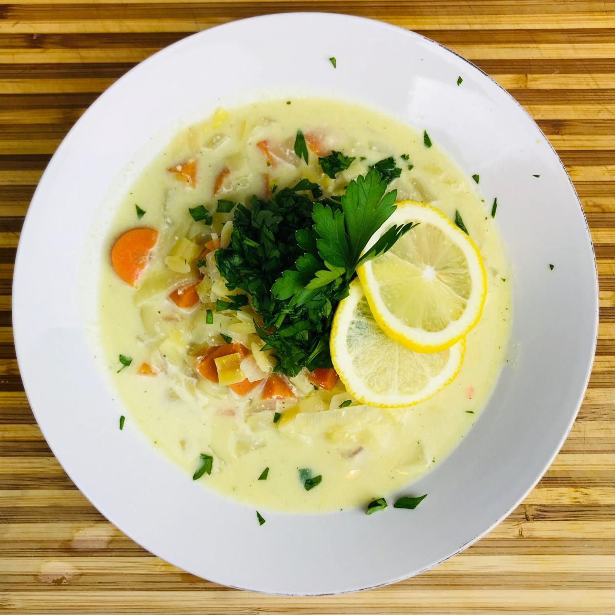 Vegan avgolemono soup