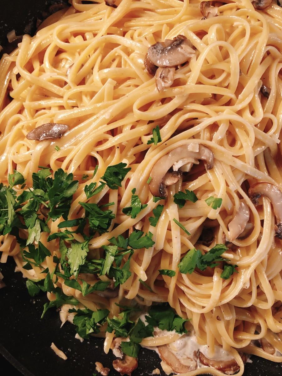 Easy Creamy Pasta With Baby Bella Mushrooms Recipe