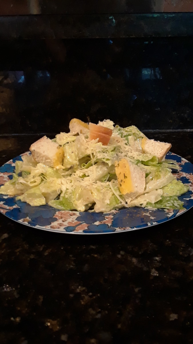 Caesar Salad with Croutons and Grated Parmesan
