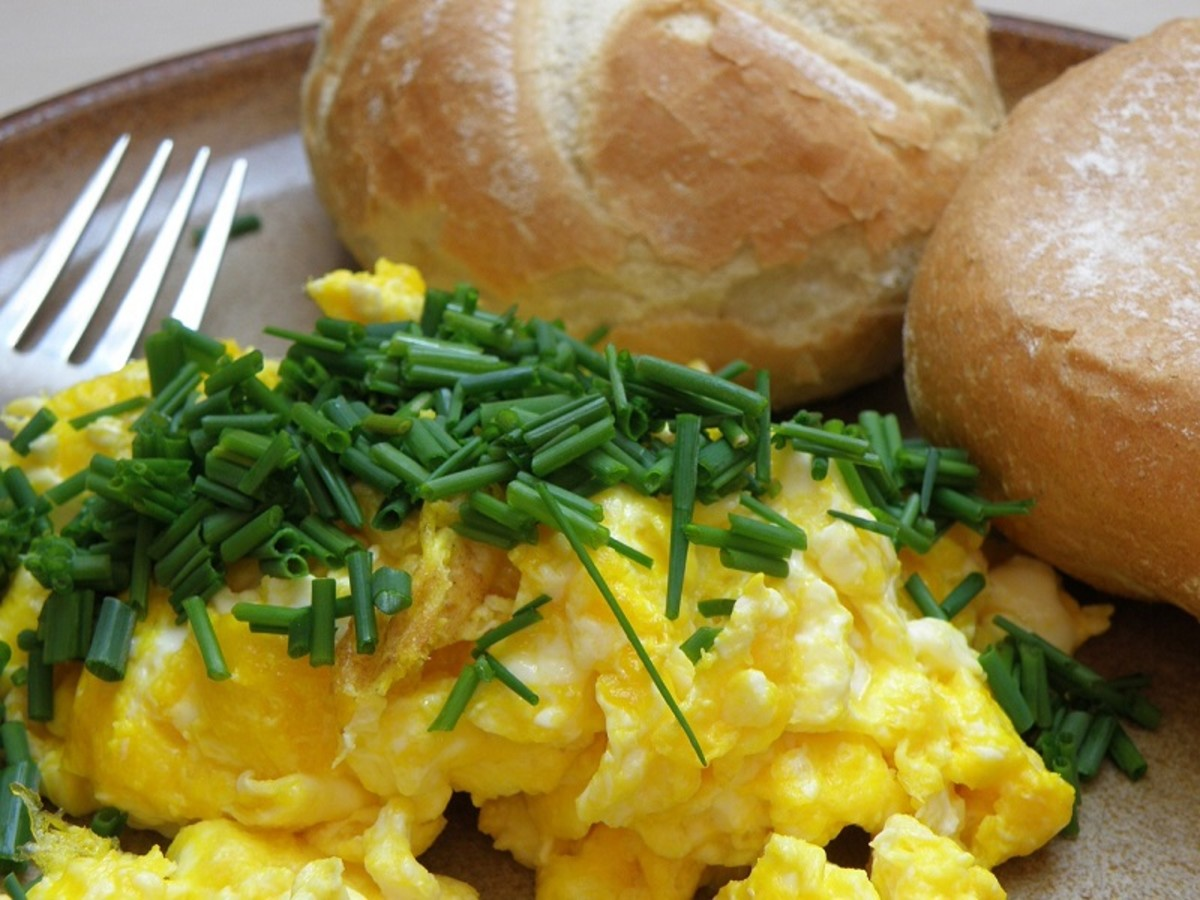 Keep it simple; fluffy scrambled eggs with a chive garnish.