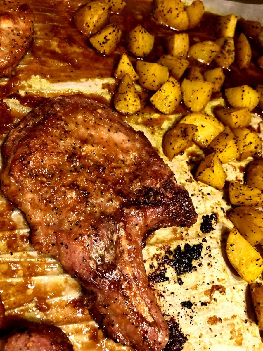 One-pan pork chop dinner