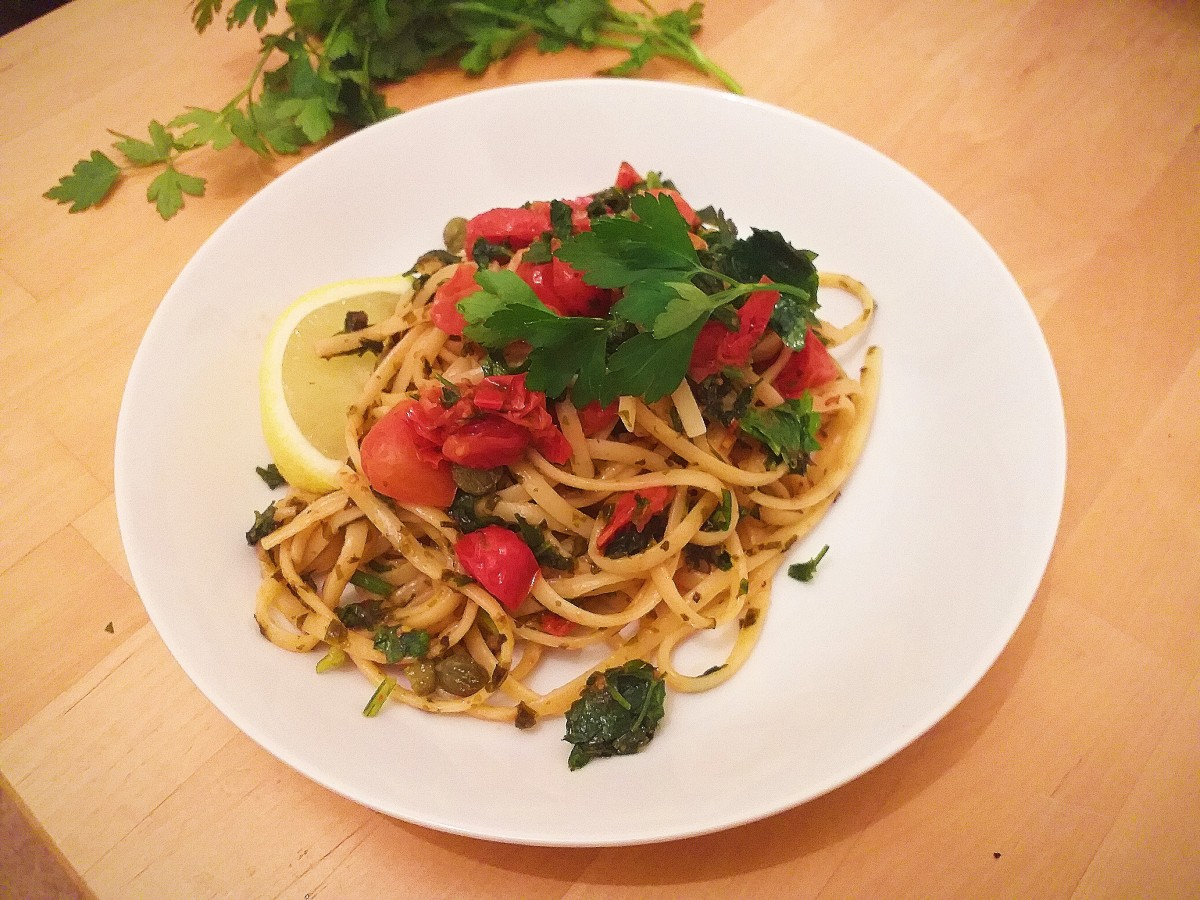 Welsh Laverbread and Tomato Linguine