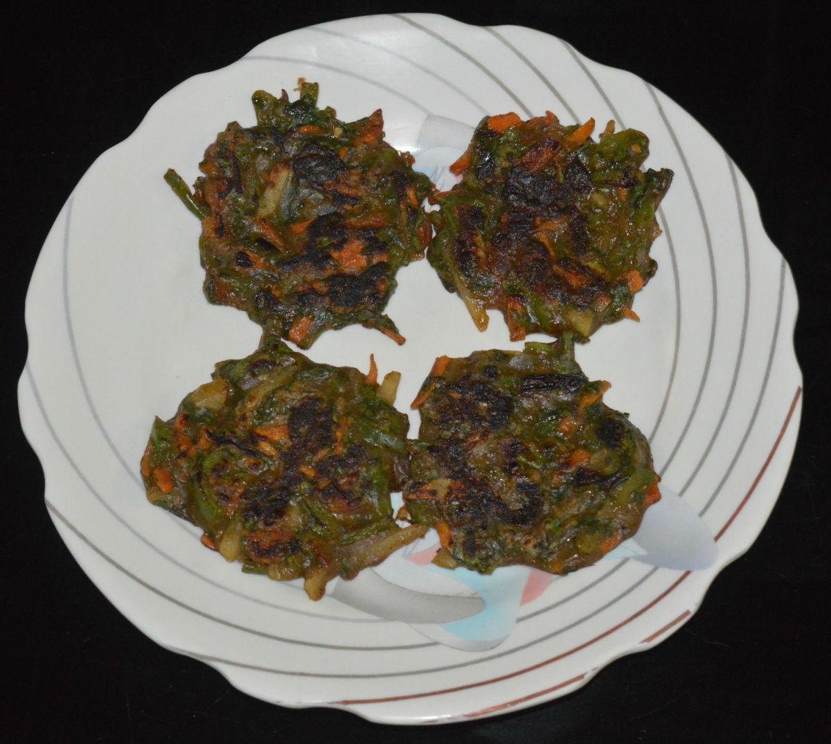 Mixed vegetable mini pancakes (besan cheela) are delicious!
