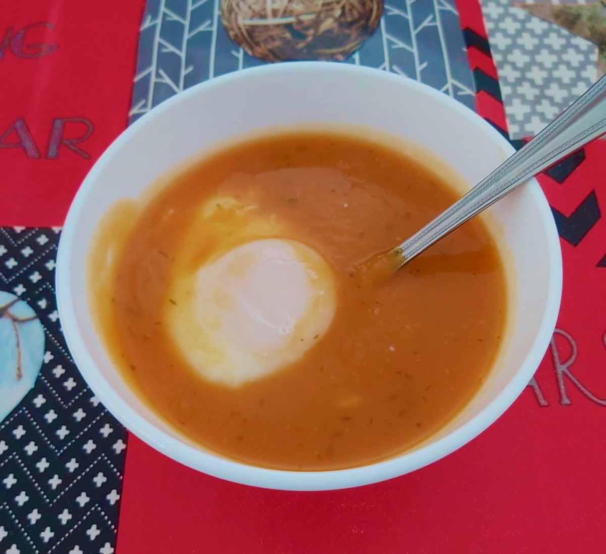 Pumpkin and Coriander Soup With a Poached Egg