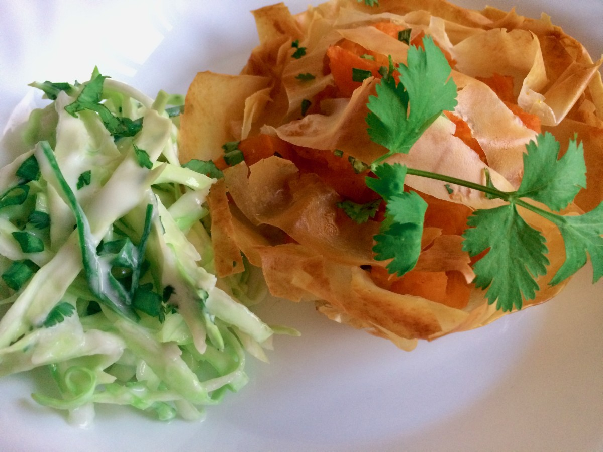 Curried pumpkin in filo pastry with a spicy Asian slaw