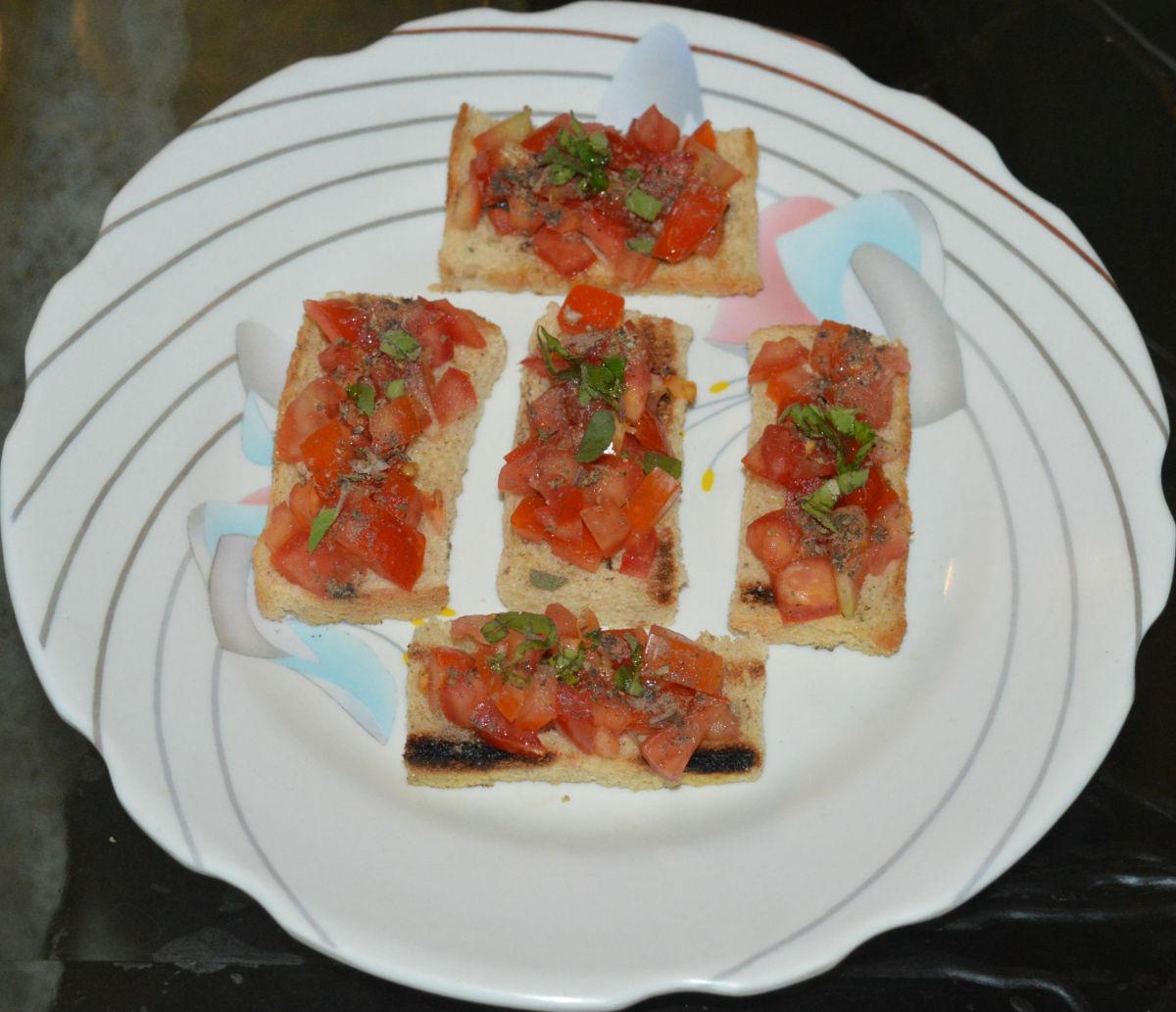 Homemade Italian tomato basil bruschetta