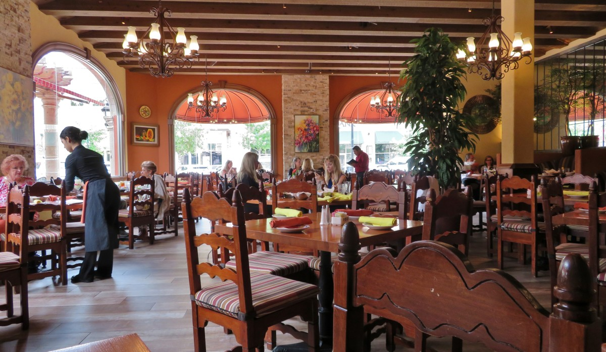 Inside one of the dining rooms at Las Alamedas in Katy, Texas