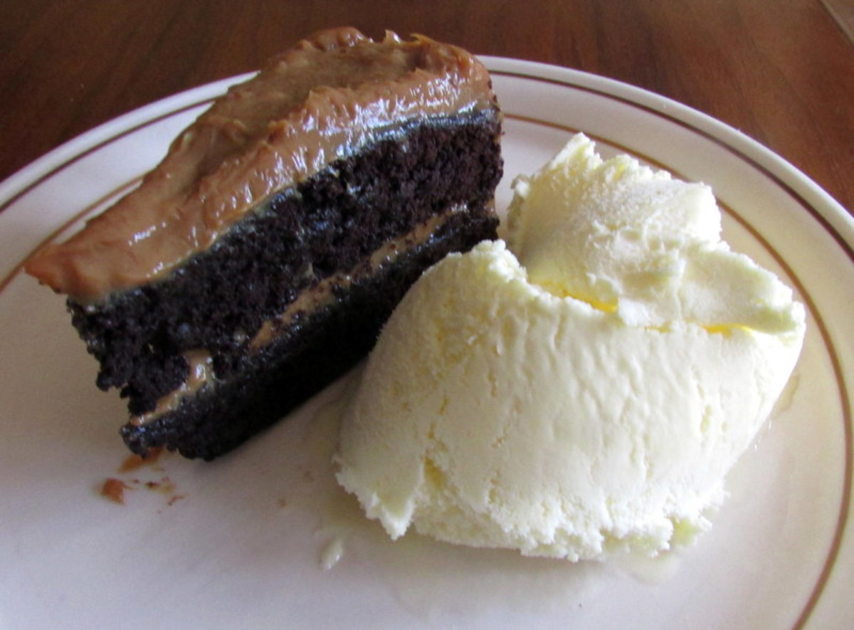 Chocolate Cake with dulce de leche filling, shown here with ice cream on the side