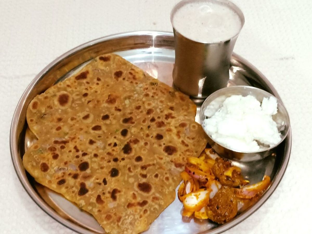 Missi Roti (Besan Paratha) With Homemade Butter and Chhachh: A Traditional Punjabi Meal