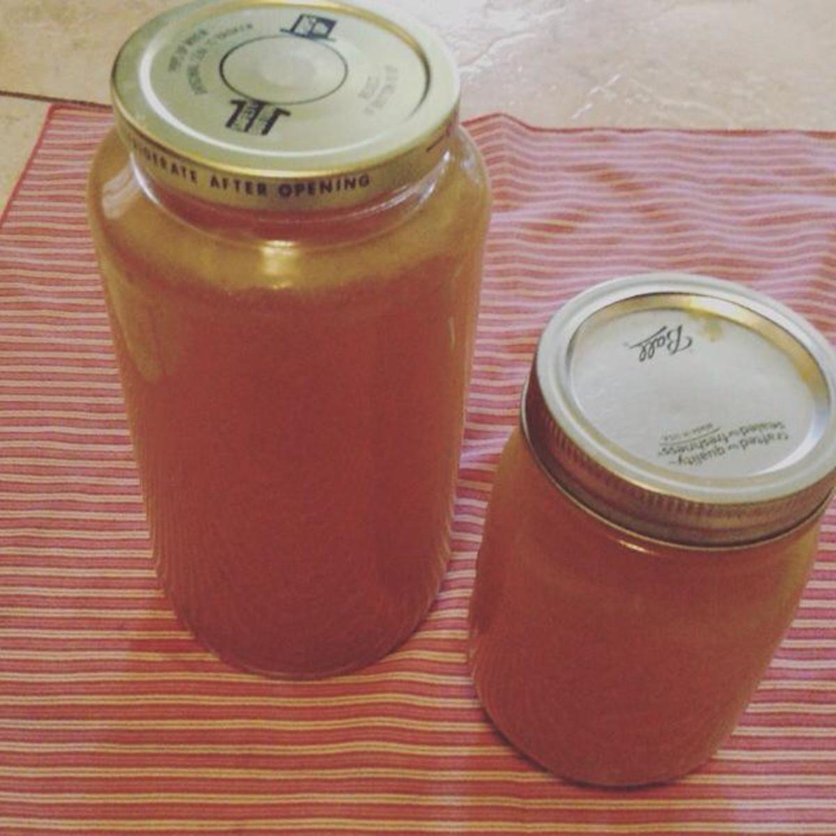 Your broth should have a beautiful golden color when ready.  Simply store in mason jars in the freezer, or for a few days in the fridge, if you know it's not going to be around for very long.