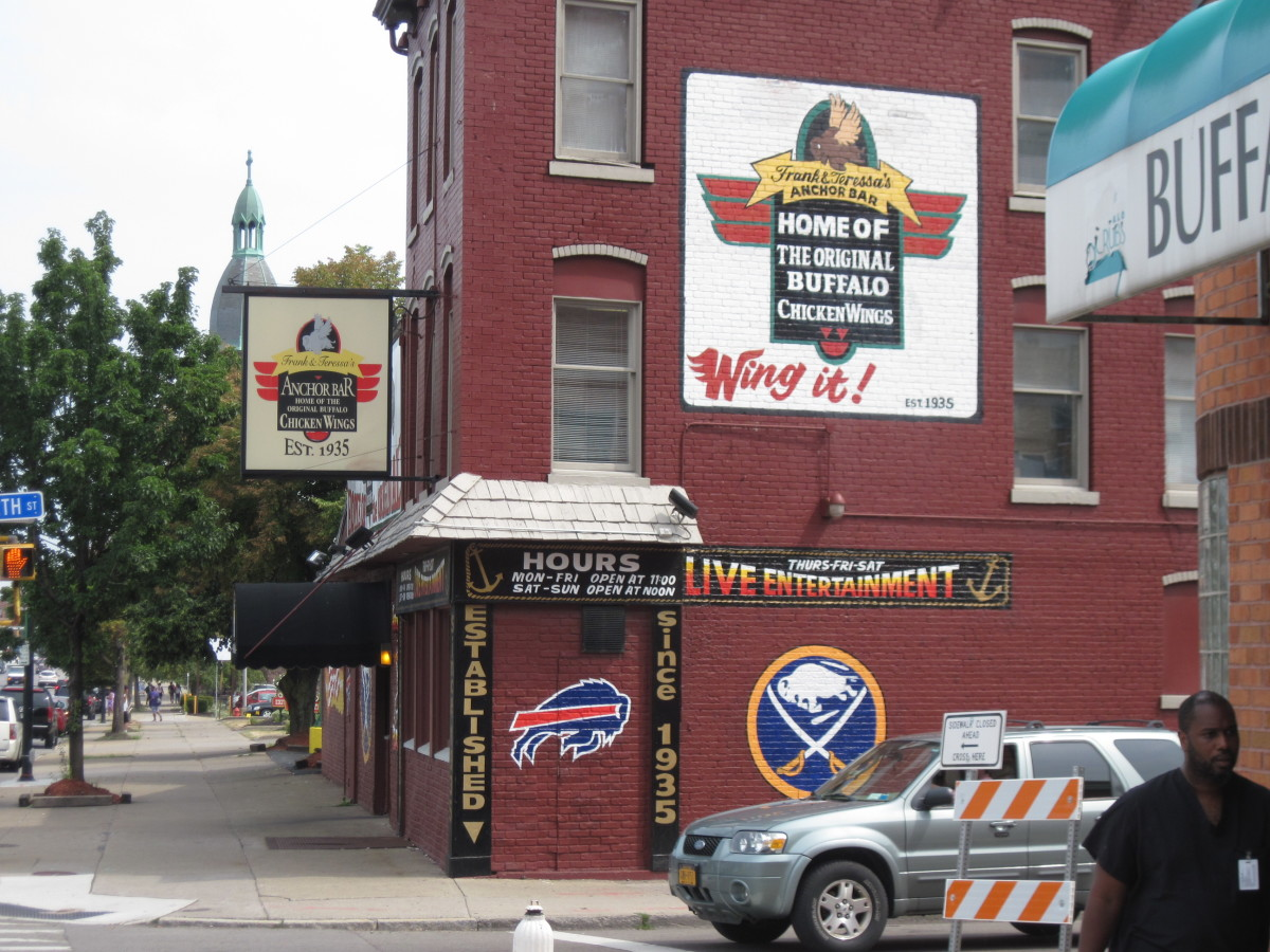 The Anchor Bar advertises itself as the home of the original Buffalo wings.